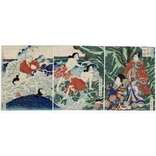 月岡芳年: Chigo-ga-fuchi in Enoshima (Enoshima Chigo-ga-fuchi), from the series Modern Genji (Imayô Genji) - ボストン美術館