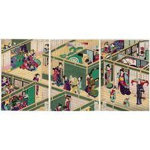 月岡芳年: Complete View of a Courtesan House in Tokyo (Tôkei girô ichiran) - ボストン美術館