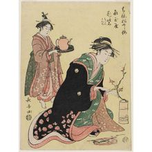 長喜: Plum: Hanamurasaki of the Kado-Tamaya, kamuro Shirae and Matsuno, from the series Pine, Bamboo and Plum in the Yoshiwara (Seirô Shôchikubai) - ボストン美術館