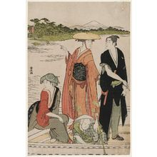Torii Kiyonaga: Ferry at Rokugô - Museum of Fine Arts