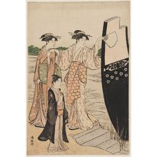 鳥居清長: Women Disembarking from a Pleasure Boat - ボストン美術館