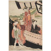 鳥居清長: Women Disembarking from a Pleasure Boat - ボストン美術館