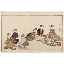 窪俊満: Preparing Food for a Nightingale, from the album Picturebook of the Bird of Poetry (Ehon utayomi-dori) - ボストン美術館