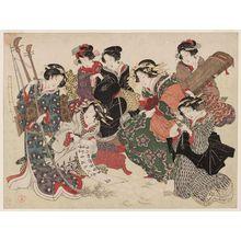 窪俊満: Seven Wise Women, Parody of the Seven Sages of the Bamboo Grove - ボストン美術館