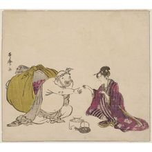 喜多川歌麿: Hotei Playing Ken with a Young Woman, from an untitled series of the Seven Gods of Good Fortune (Shichifukujin) - ボストン美術館