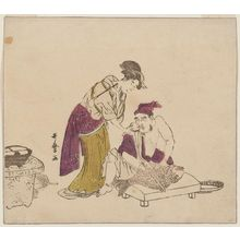 Kitagawa Utamaro: Ebisu Preparing to Carve a Tai While a Young Woman Gives Him Sake, from an untitled series of the Seven Gods of Good Fortune (Shichifukujin) - Museum of Fine Arts
