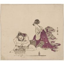 Kitagawa Utamaro: Bishamon Grinding a Spear-Head and Young Woman Looking On, from an untitled series of the Seven Gods of Good Fortune (Shichifukujin) - Museum of Fine Arts