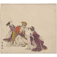 Kitagawa Utamaro: Woman Reading a Letter to Jurôjin, from an untitled series of the Seven Gods of Good Fortune (Shichifukujin) - Museum of Fine Arts
