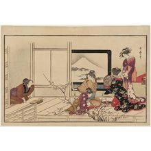 喜多川歌麿: Preparing Food for a Nightingale, from the album Men's Stamping Dance (Otoko tôka) - ボストン美術館