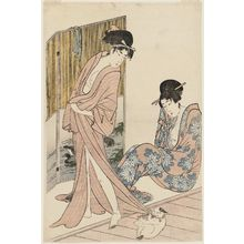 喜多川歌麿: Women after the Bath Playing with a Cat - ボストン美術館