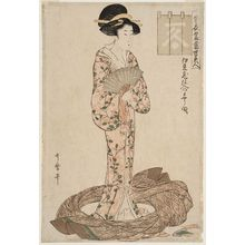 Kitagawa Utamaro: Suited to Patterns Stocked by Izugura (Izugura shi-ire no moyô muki), second state, from the series Summer Outfits: Beauties of Today (Natsu ishô tôsei bijin) - Museum of Fine Arts
