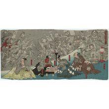 Unknown: The Earth Spider Generates Monsters at the Mansion of Lord Minamoto Yorimitsu (Minamoto Yorimitsu [Raikô] kô no yakata ni tsuchigumo yôkai o nasu zu) - Museum of Fine Arts