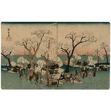 Utagawa Hiroshige: Amusements at Goten-yama (Goten-yama yûkyô), from the series Famous Places in Edo (Kôto meisho) - Museum of Fine Arts