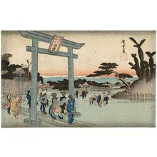 歌川広重: Tomigaoka Hachiman Shrine at Fukagawa (Fukagawa Tomigaoka Hachiman), from the series Famous Places in Edo (Kôto meisho) - ボストン美術館