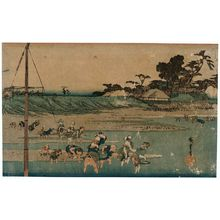Utagawa Hiroshige: Gathering Shellfish at Low Tide at Susaki (Susaki shiohigari), from the series Famous Places in Edo (Kôto meisho) - Museum of Fine Arts