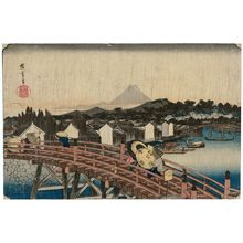 歌川広重: Shower on Nihonbashi Bridge (Nihonbashi no hakuu), from the series Famous Places in the Eastern Capital (Tôto meisho) - ボストン美術館