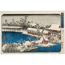 Utagawa Hiroshige: Snow in the Precincts of the Tenman Shrine at Kameido (Kameido Tenmangû keidai yuki), from a series Famous Places in the Eastern Capital (Tôto meisho) - Museum of Fine Arts