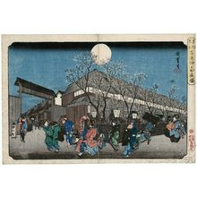 歌川広重: Cherry Blossoms at Night on Naka-no-chô in the Yoshiwara (Yoshiwara Naka-no-chô yozakura), from the series Famous Places in the Eastern Capital (Tôto meisho) - ボストン美術館