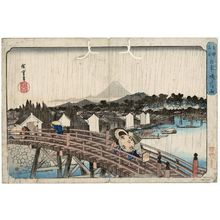 Utagawa Hiroshige: Shower on Nihonbashi Bridge (Nihonbashi no hakuu), from the series Famous Places in the Eastern Capital (Tôto meisho) - Museum of Fine Arts