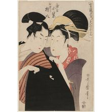 喜多川歌麿: Shirai Gonpachi and Komurasaki of the Miuraya, from the series True Feelings Compared: The Founts of Love (Jitsu kurabe iro no minakami) - ボストン美術館