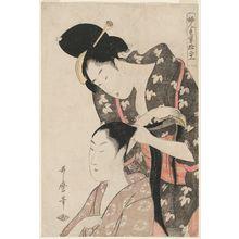 Kitagawa Utamaro: Hairdresser, from the series Twelve Types of Women's Handicraft (Dujin tewaza jûniko) - Museum of Fine Arts
