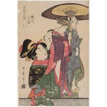 喜多川歌麿: Umegawa and Chûbei, from the series Manipulations of Love With Musical Accompaniment (Ongyoku koi no ayatsuri) - ボストン美術館