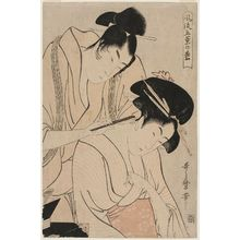 喜多川歌麿: Shaving the Nape of the Neck, from the series Elegant Five-Needled Pine (Fûryû goyô no matsu) - ボストン美術館