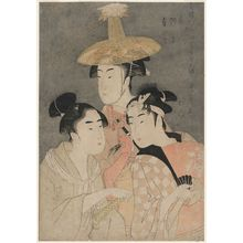Kitagawa Utamaro: Korean, Lion Dancer, Sumo Wrestler (Tôjin, shishi, sumô), from the series Female Geisha Section of the Yoshiwara Niwaka Festival (Seirô niwaka onna geisha no bu) - Museum of Fine Arts