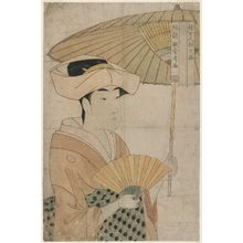 Kitagawa Utamaro: Woman Holding up a Parasol, from the series Ten Classes of Women's Physiognomy (Fujo ninsô juppon) - Museum of Fine Arts