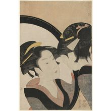 喜多川歌麿: Seven Women Applying Make-up Using a Mirror (Sugatami shichinin keshô) - ボストン美術館