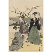 Kitagawa Utamaro: Three Lucky New Year Dreams: Fuji, Falcon, Eggplant - Museum of Fine Arts