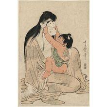 喜多川歌麿: Kintarô Holding Mask before Yamauba's Face - ボストン美術館