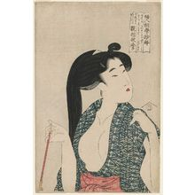 喜多川歌麿: Woman with Pipe, from the series Ten Types in the Physiognomic Study of Women (Fujin sôgaku juttai) - ボストン美術館