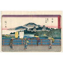 Utagawa Hiroshige: Yoshida: Toyokawa River and Yoshida Bridge (Yoshida, Toyokawa Yoshida-bashi), from the series The Fifty-three Stations of the Tôkaidô Road (Tôkaidô gojûsan tsugi no uchi), also known as the Gyôsho Tôkaidô - Museum of Fine Arts