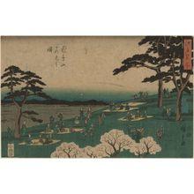 Utagawa Hiroshige: Cherry-blossom Viewing at Asuka Hill (Asukayama hanami no zu), from the series Famous Places in Edo (Edo meisho) - Museum of Fine Arts