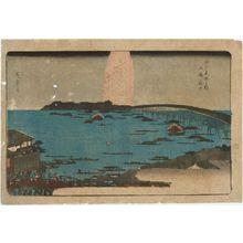 Utagawa Hiroshige: Fireworks at Ryôgoku Bridge (Ryôgoku hanabi), from the series Famous Places in Edo (Edo meisho no uchi) - Museum of Fine Arts