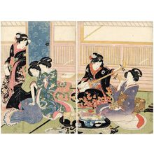 Utagawa Toyoshige: Palace Maids and Male Prostitutes - Museum of Fine Arts