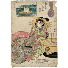 Utagawa Toyoshige: Tsukuda: Hanatori of the Ôgiya, kamuro Nioi and Tomeki, from the series Ten Views of Edo/Comparison of Beauties (Edo jukkei/Bijin awase) - Museum of Fine Arts
