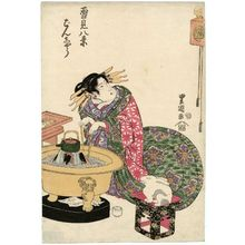 Utagawa Toyoshige: Evening Bell (Banshô), from the series Eight Views of Snow Scenes (Yukimi hakkei) - Museum of Fine Arts