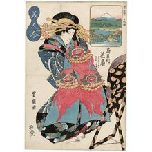 Utagawa Toyoshige: Nihonbashi: Hanaôgi of the Ôgiya, kamuro Yoshino and Tatsuta, from the series Ten Views of Edo: Contest of Beauties (Edo jikkei, bijin awase) - Museum of Fine Arts