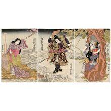 Utagawa Toyoshige: Actors Seki Sanjûrô, Bandô Mitsugorô, and Segawa Kikunojô - Museum of Fine Arts