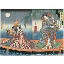 歌川国貞: Moon: Actors Iwai Kumesaburô III as Mitsuuji (R) and Nakamura Fukusuke I as Asazuma (L), from the series Snow, Moon, and Flowers (Setsugekka no uchi) - ボストン美術館