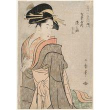 Kitagawa Utamaro: Somenosuke of the Matsubaya, kamuro Wakagi and Wakaba (Matsubaya uchi Somenosuke, Wakagi, Wakaba), from the series Supreme Beauties of the Present Day (Tôji zensei bijin-zoroe) - Museum of Fine Arts