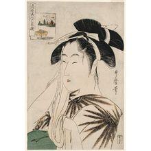 喜多川歌麿: The Widow of Asahiya (Asahiya goke, in rebus form), from the series Renowned Beauties Likened to the Six Immortal Poets (Kômei bijin rokkasen) - ボストン美術館