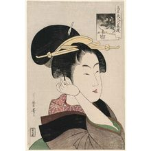 Kitagawa Utamaro: Tatsumi Rokô (name in rebus form), from the series Renowned Beauties Likened to the Six Immortal Poets (Kômei bijin rokkasen) - Museum of Fine Arts