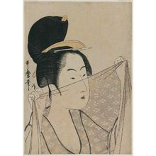 Kitagawa Utamaro: Woman Holding a Piece of Gauze Before Her Face - Museum of Fine Arts