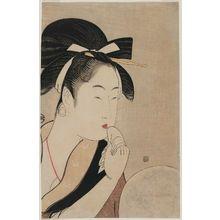 喜多川歌麿: Woman Making Up Her Lips - ボストン美術館