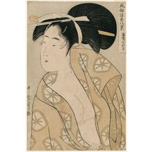 喜多川歌麿: Autumn Moon after the Bath (Yuagari shûgetsu), from the series Eight Views of Customs in the Floating World (Fûzoku ukiyo hakkei) - ボストン美術館