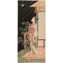 Ippitsusai Buncho: Beauty at Night Listening to Cuckoo in Rain - Museum of Fine Arts