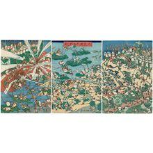 河鍋暁斎: Fashionable Battle of Frogs (Fûryû kaeru ôgassen no zu) - ボストン美術館